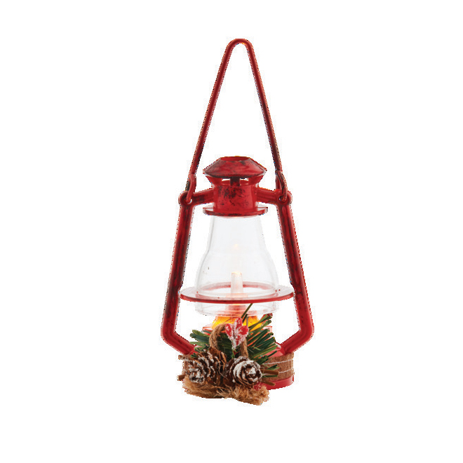 "Lantern Ornament - 4 1/2"" - LED - Plastic - Red"