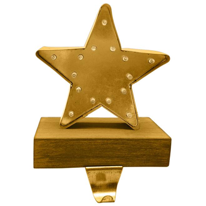 Illuminated Star-Shaped Stocking Holder - Metal/Wood - Brown/Gold