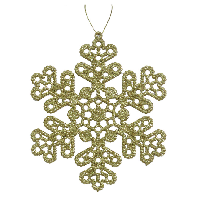 """Set of 10 Tree Ornaments - Snowflakes - 6.75"""" - Gold"""
