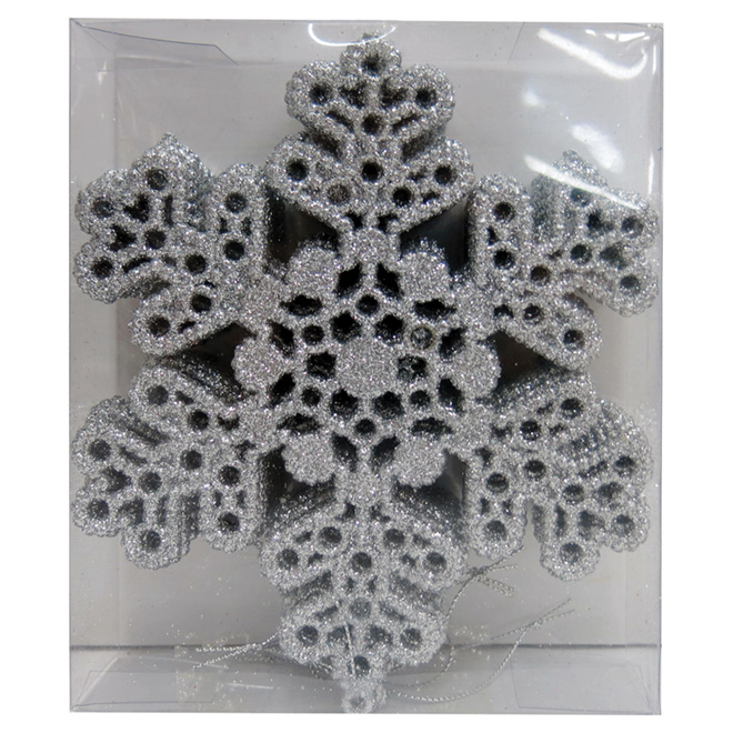 """Set of 10 Tree Ornaments - Snowflakes - 6.75"""" - Silver"""