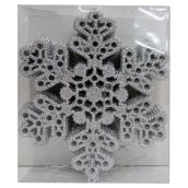"Set of 10 Tree Ornaments - Snowflakes - 6.75"" - Silver"
