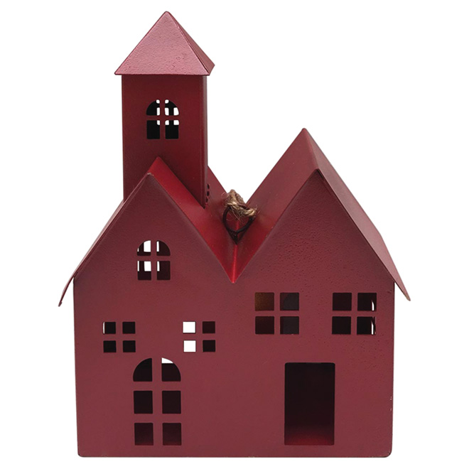Assortment of 2 Lighted Houses - Metal - Red/Brown