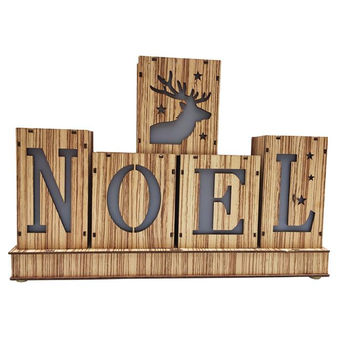 "Décoration de Noël illuminée, DEL, 16 1/8"" x 11 1/8"", brun"