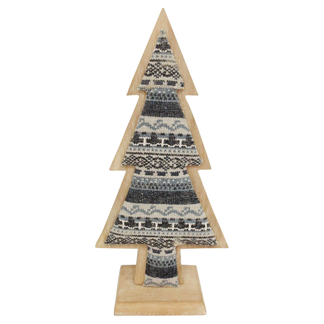 "Christmas Tree - Wood and Fabric - 13 1/4"" - Brown/Black"