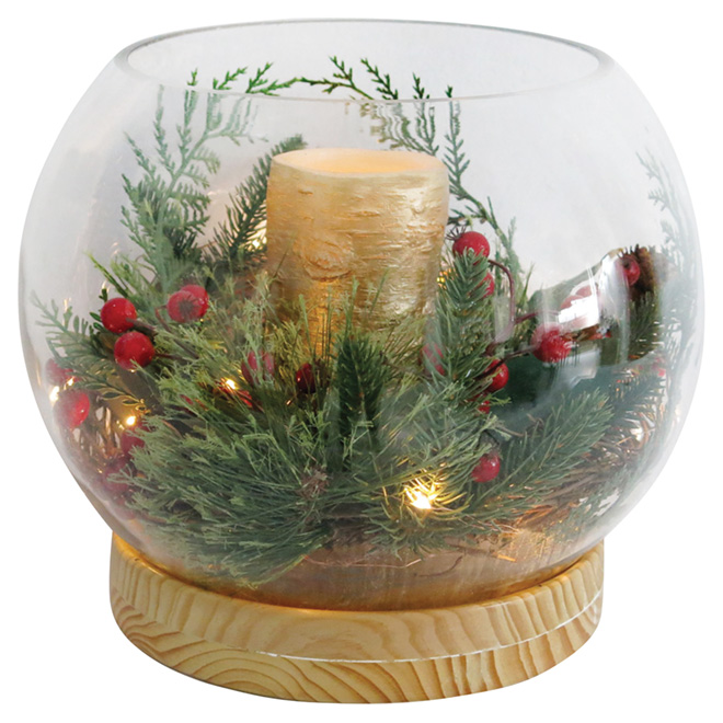 "Holiday Candle Holder - 12 1/2"" x 13"" - Red/Brown/Green"