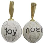 "Christmas Ball - Burlap - 3 3/4"" - White/Brown"