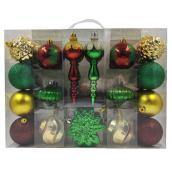 Set of 35 Tree Ornaments - Plastic - Multicolor