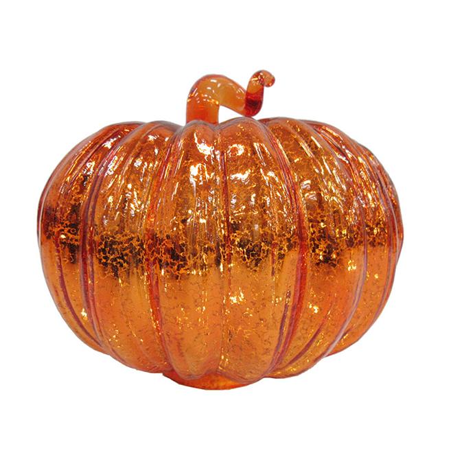 Lighted Glass Pumpkin - 9.5'' x 8'' - Orange