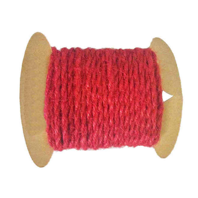Corde de jute, 4 mm x 24', bourgogne