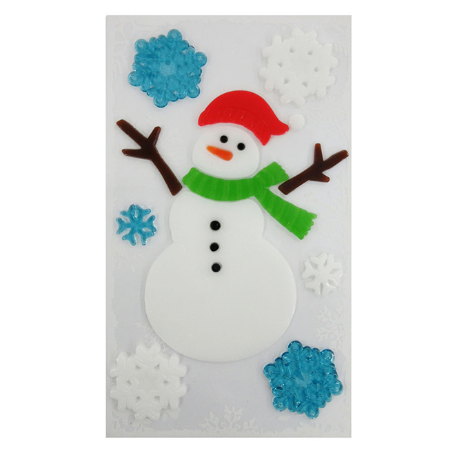 Snowman with Snowflakes Window Stickers - 12 pieces