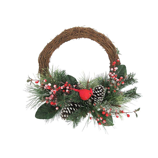 """Natural Wooden Wreath with Cardinal - 18"""""""