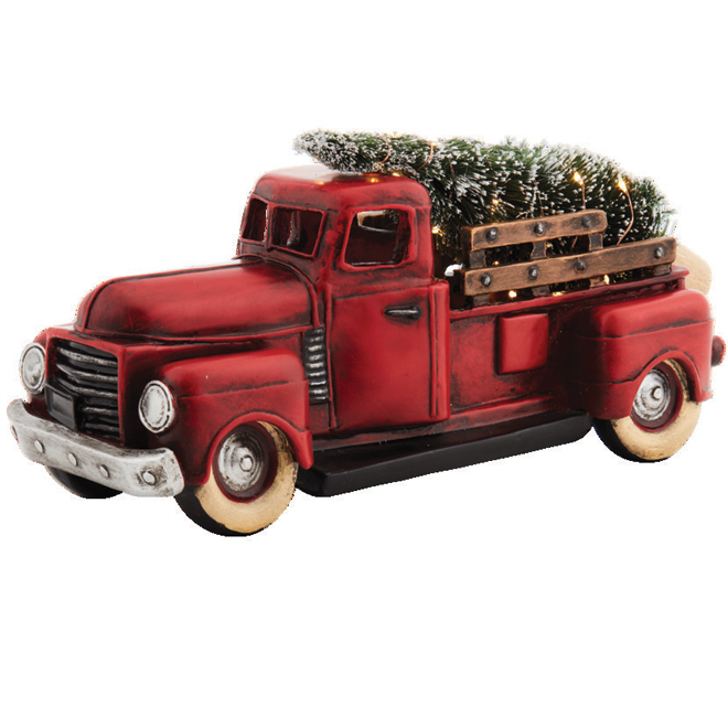 "Decorative Truck with Tree - 13 x 5.25 x 6.5"" - Resin - Red"