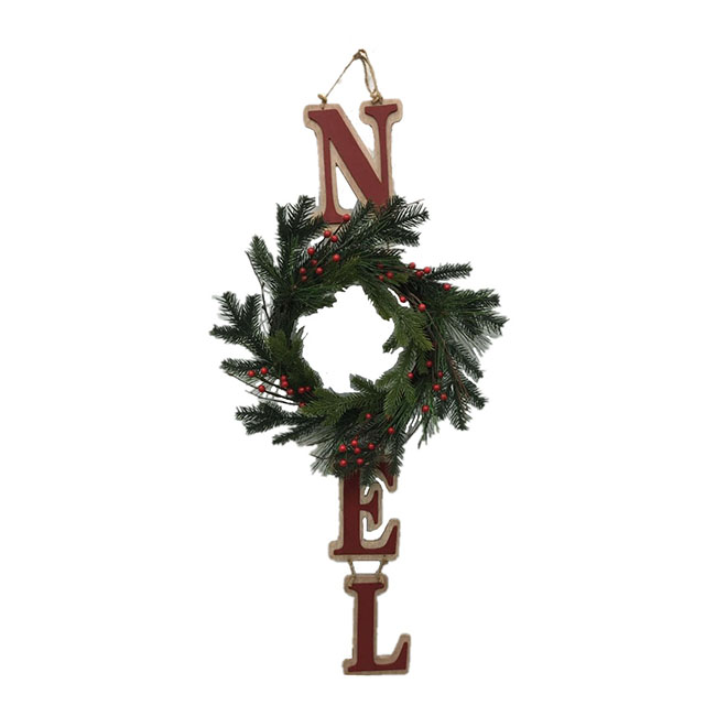 "Wall Decoration ""Noël"" with Wreath - 32"" x 12"" - Red"