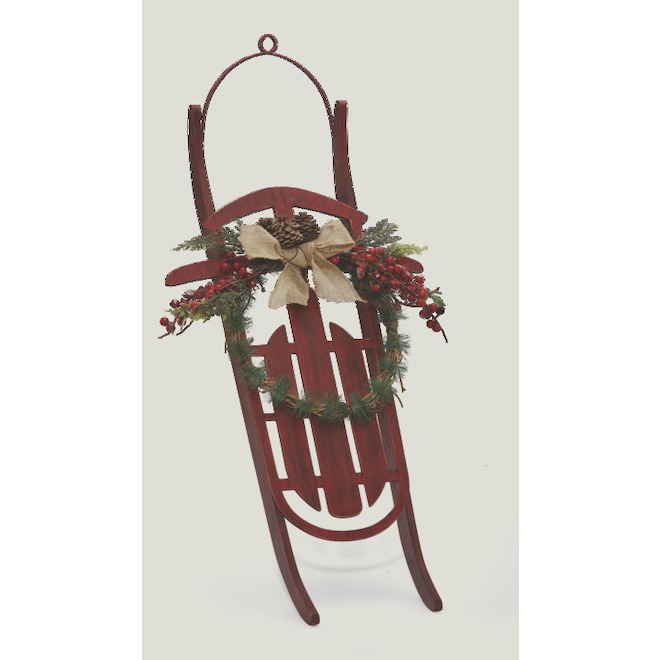 "Sleigh with Wreath - Wall-Mounted - 36"" - Red and Green"