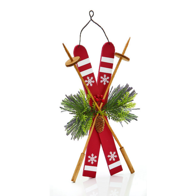 Christmas Ornament - Skis - Red
