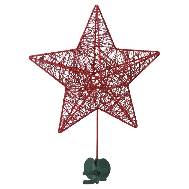 """Star Tree Topper - Metal - 101/4"""" X 31/4"""" X 141/4"""" - Red"""