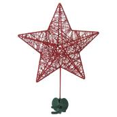 "Star Tree Topper - Metal - 10 1/4"" X 3 1/4"" X 14 1/4"" - Red"