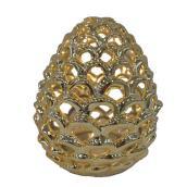 "Decorative LED Pinecone - 6"" - Ceramic - Gold"