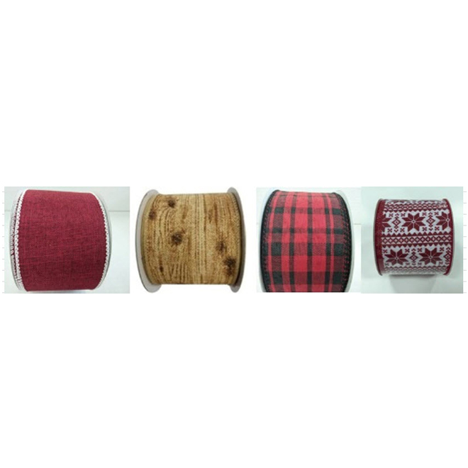 """Traditional Fabric Ribbon - 2.5"""" x 30' - Assorted Colours"""