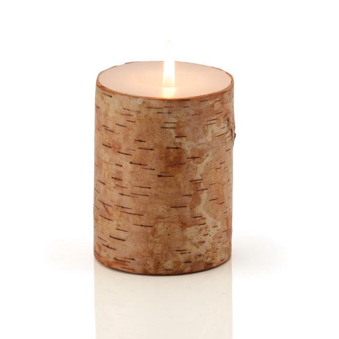 """Wax Candle - Birch Pattern - 4"""" - Beige"""