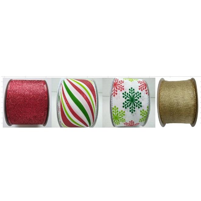"Ruban festif en tissu, 2,5"" x 30', couleurs assorties"