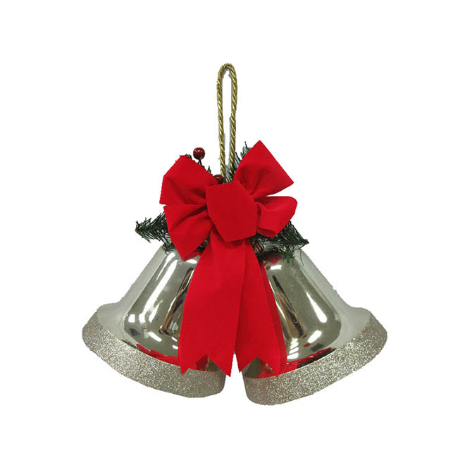 Decorative Double Bell - Plastic - Champagne and Gold