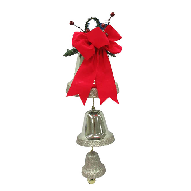 Decorative Triple Bell - Plastic - Champagne and Gold