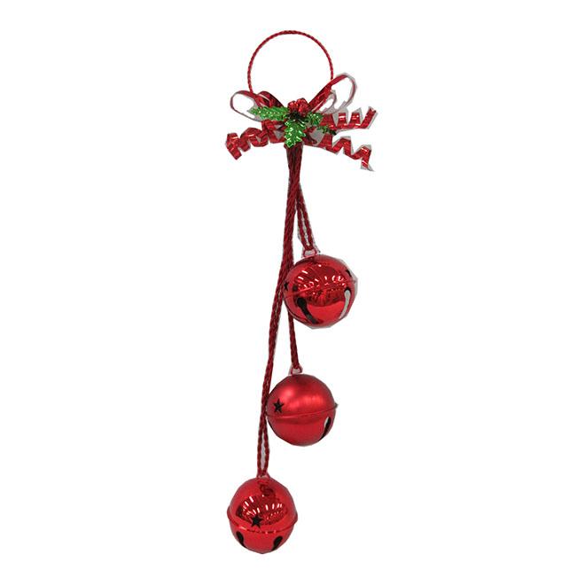 Cloche triple décorative en métal, rouge