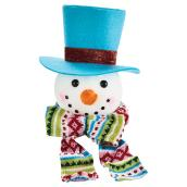 "Snowman with Hat - 8"" - Foam and Fabric"