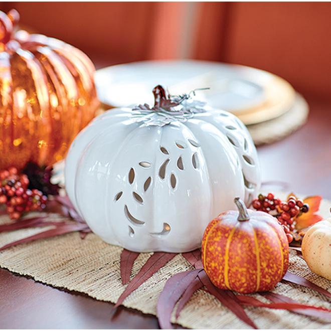 White Lighted Ceramic Pumpkin - 6 1/2'' x 8 1/4''
