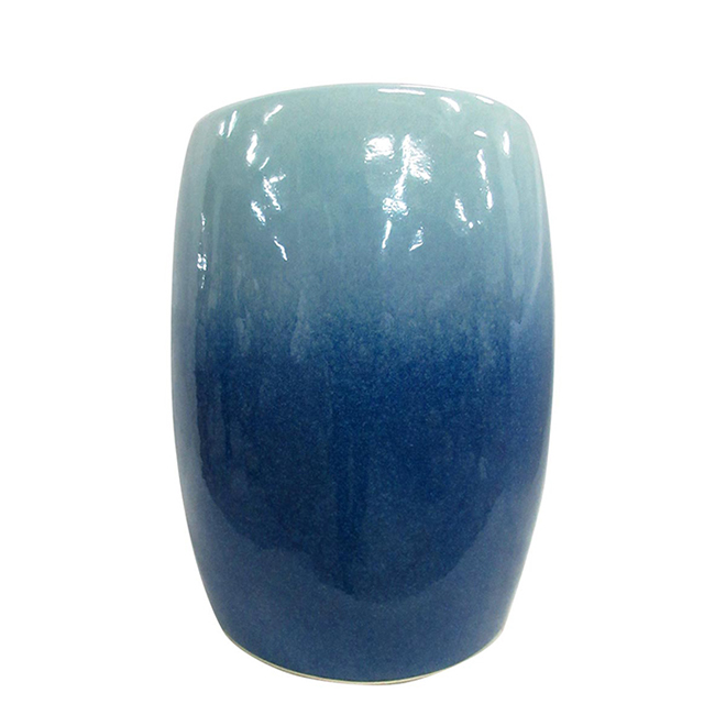 "Garden Stool - 14"" x 17.5"" - Blue Ceramic"