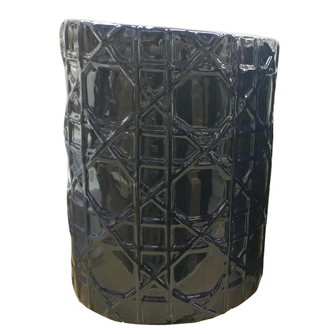 "Garden Stool - 14"" x 18"" - Dark Blue Ceramic"