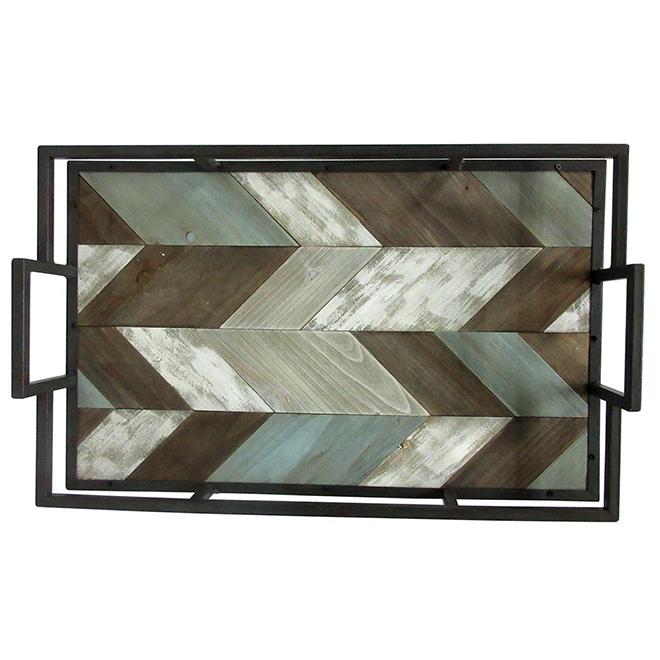 "Service Tray - 12.25"" x 19.25"" x 4"" - Grey and Brown"