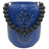 "Exterior Lantern - Pineapple - 6.25"" x 8"" - Blue and Black"