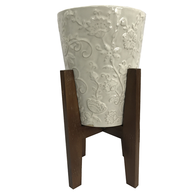 White Ceramic Flower Pot - Wooden Stand - 10.25''