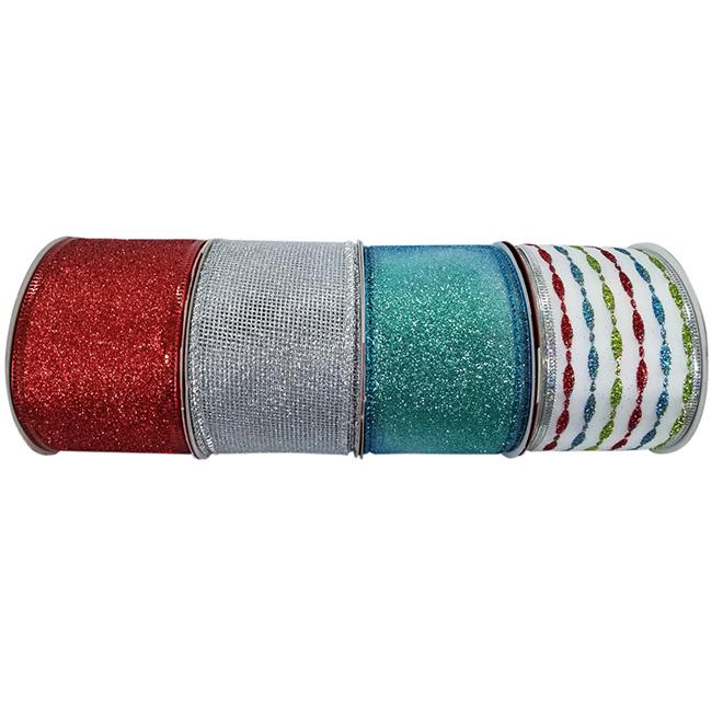 "Glittery Ribbons - 2.5"" x 10 yd - Nylon - Assorted"