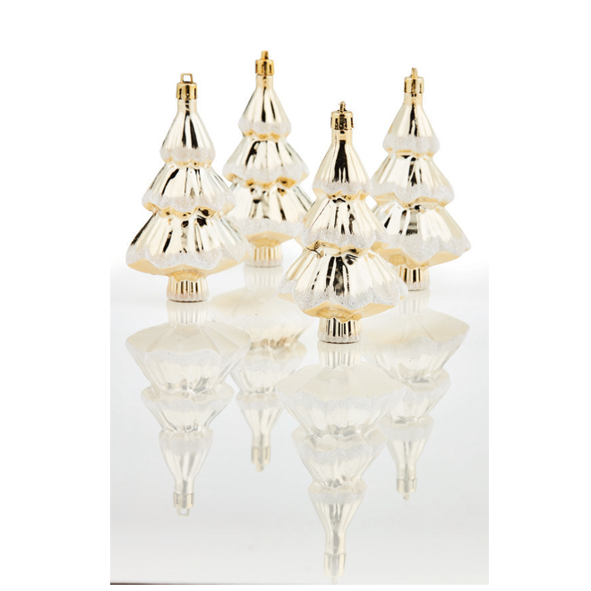 Christmas Ornament - Trees - Gold - 4/Pack