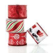 "Rubans de Noël, 2,5"" x 10 vg, nylon, assortis"