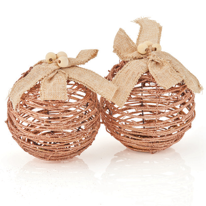 Hygge Holiday Christmas Balls  - Brown and Beige - 2/Pack