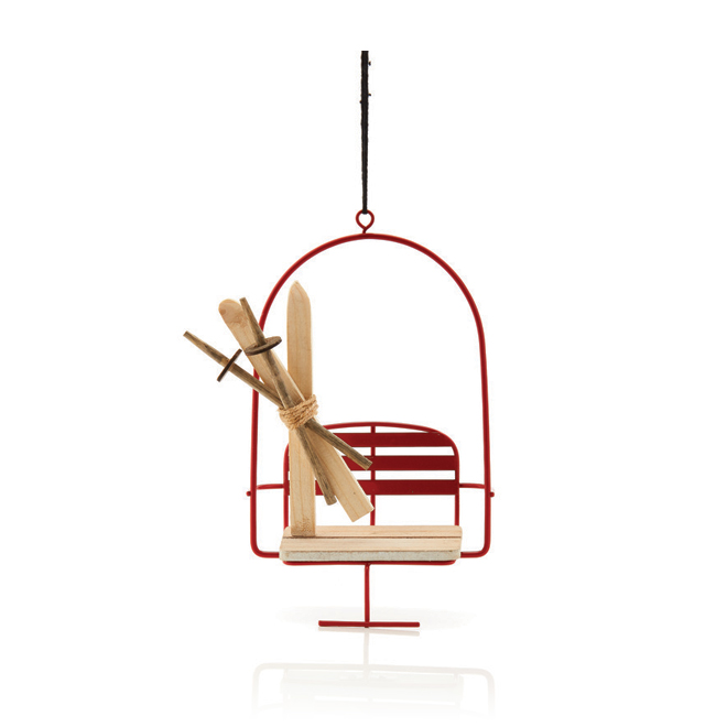 Hygge Holiday Christmas Ornament - Ski Set - Red and Beige