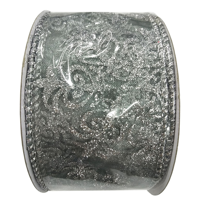 Creative Design Polyester Wired Edges Glitter Ribbon - 2-in x 30-ft - Silver