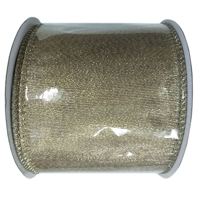 Creative Design Polyester Wired Ribbon - 3-in x 30-ft - Gold