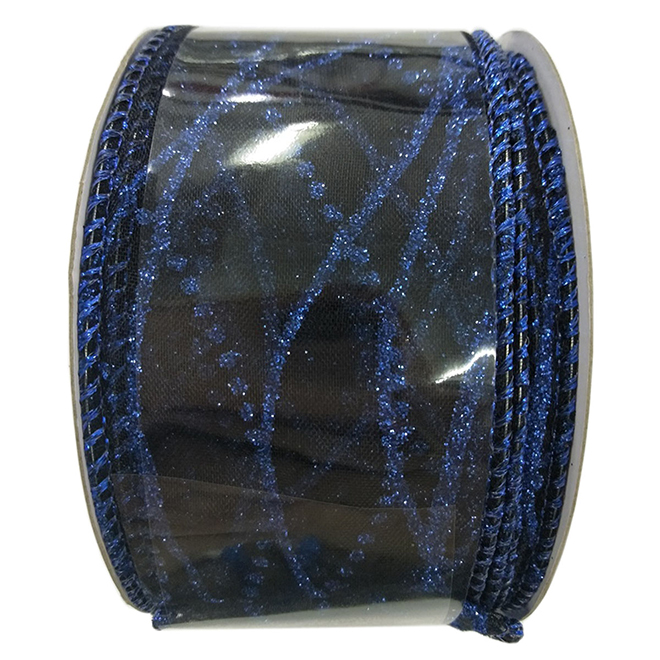 Creative Design Polyester Wired Glitter-Printed Ribbon - 2-in x 30-ft - Blue