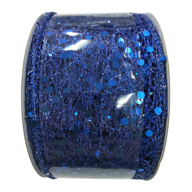 Creative Design Polyester Wired Mesh-Work and Glitter Ribbon - 2-in x 30-ft - Blue