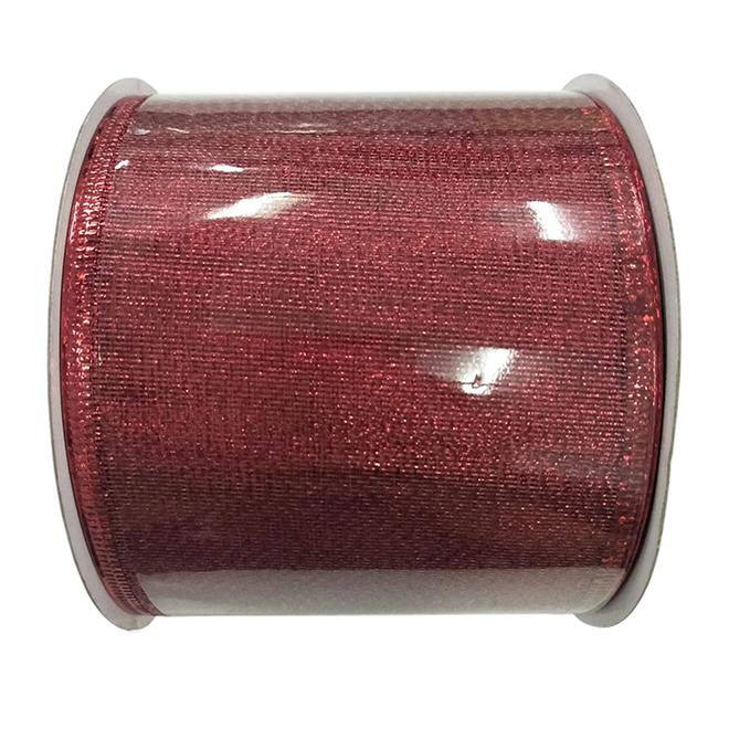Ruban filaire en polyester étincelant, Creative Design, 3 po x 30 pi, rouge