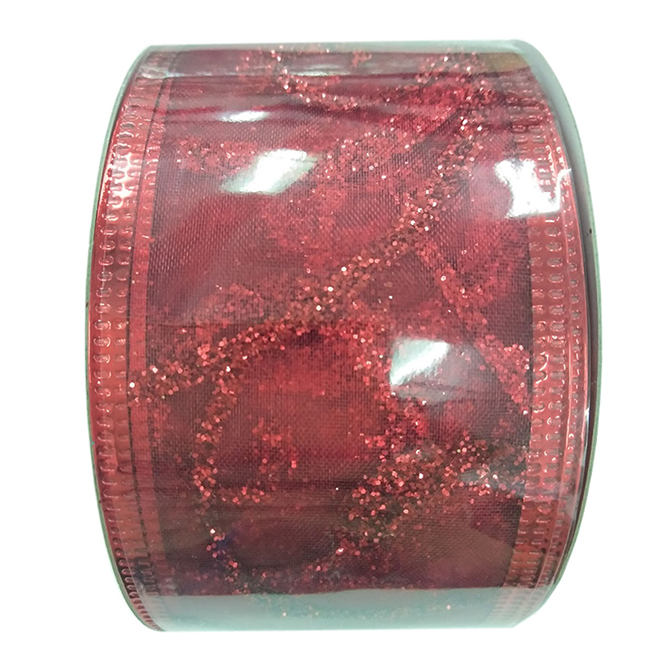Creative Design Polyester Wired Glitter-Printed Ribbon - 2-in x 30-ft - Red