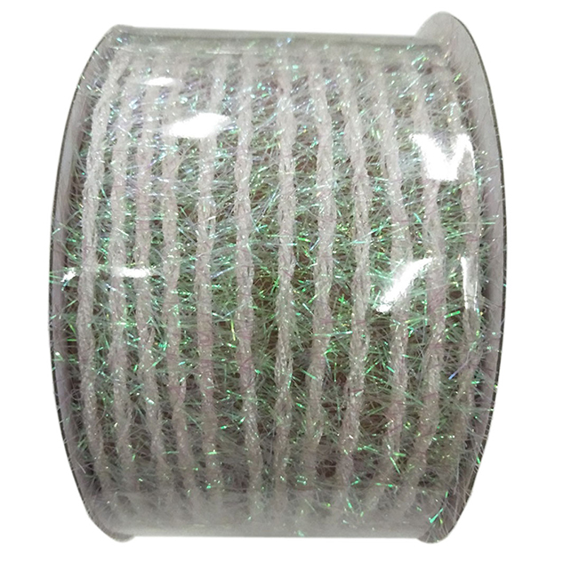 Creative Design Polyester Garland-Style Iridescent Ribbon - .02-in x 15-ft - White