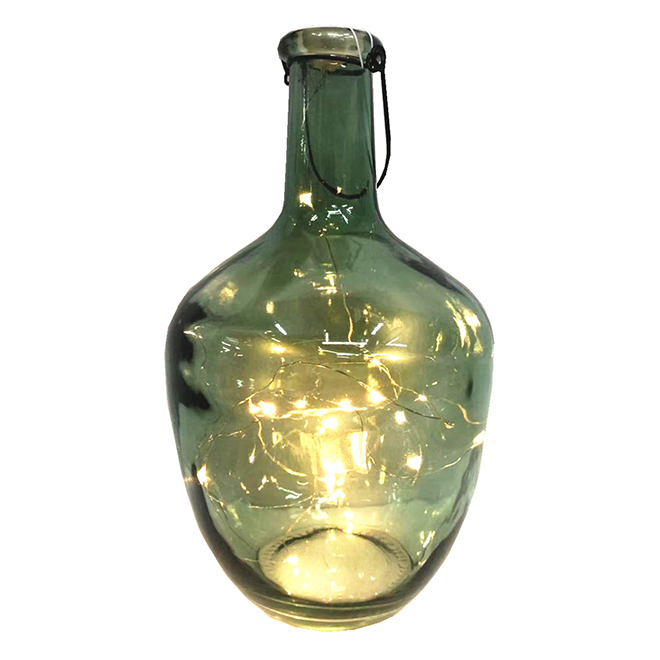 Lighted Glass Bottle - Micro Lights - Green - 12-in