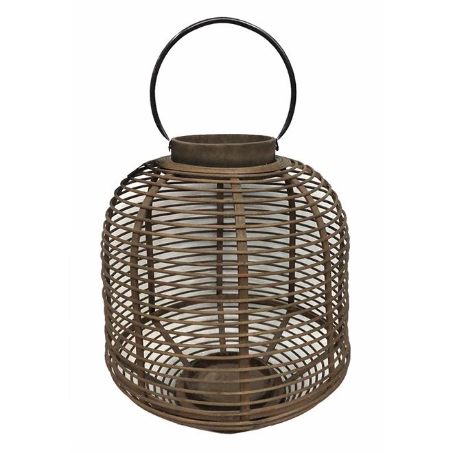 Bamboo Lantern - 13.75-in x 15.25-in - Brown