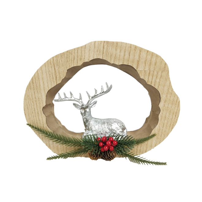 Dessus de table Holiday Living avec renne en résine, Noël au chalet, 10,5 po